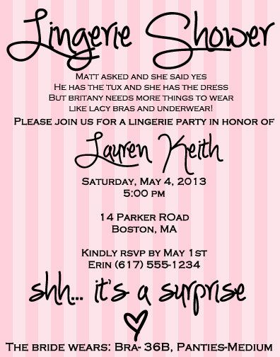 for showers Invitations lingerie