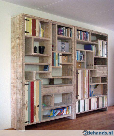 Steigerhouten kast boekenkast steigerhout wandmeubel kasten - Ruimte ...