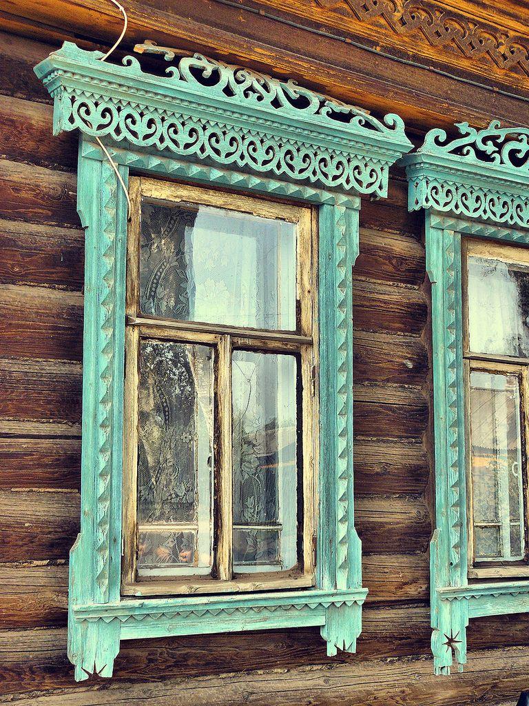 Russian window decoration   Wood windows, Wood window frame, Faux ...