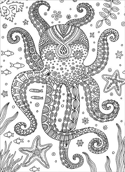octopus coloring page for adults - octopus colorful meditations coloring book by stephanie