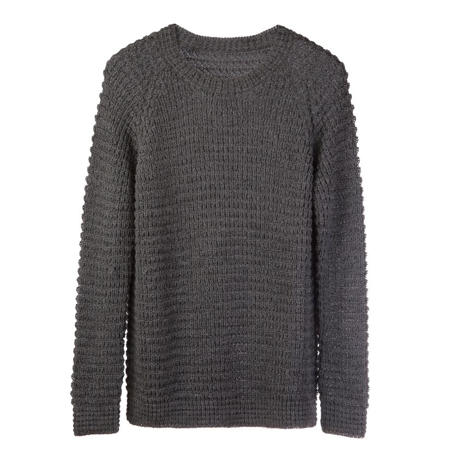 A sweater that combines a richly textured waffle knit pattern with sumptuously soft, pre-washed baby alpaca wool and an elegantly relaxed fit for the perfect transition into winter.