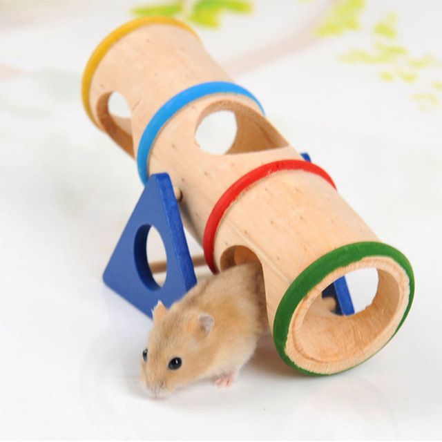 Wooden pet toys hamster guinea pig tunnel seesaw totoro for Guinea pig accessories diy