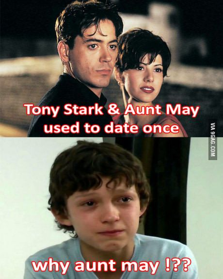 Tony Stark And Aunt May Used To Date Once Tony Stark Stark Marvel Memes