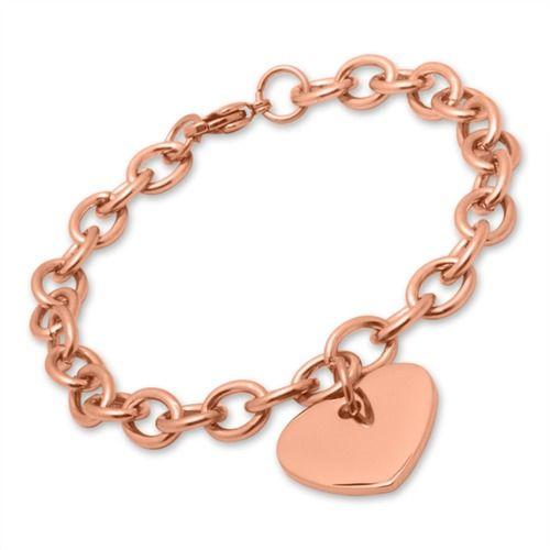 Rosévergoldetes Armband aus Edelstahl mit Herz B5199SL rose gold