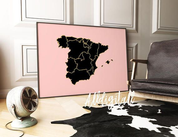 Spain map print spanish art print modern wall art rose gold | maps ...