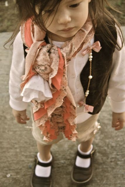 so cute scarf gathered with elastic thread and with layers, made from old clothes