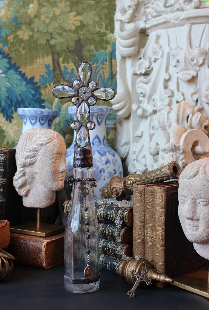 clear, bottle, cross bottles, shell topped bottle, crossbottleguy, cross bottle, luxury home decor, religious art, handmade art, crystal, antique, vintage, rosary