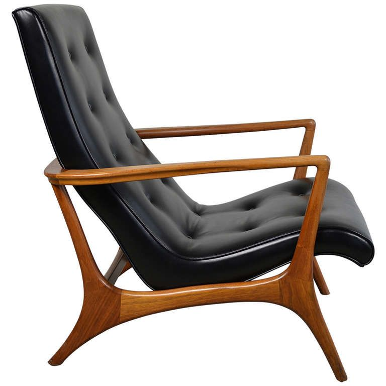MidCentury Modern Walnut and Leather Lounge Chair Leather