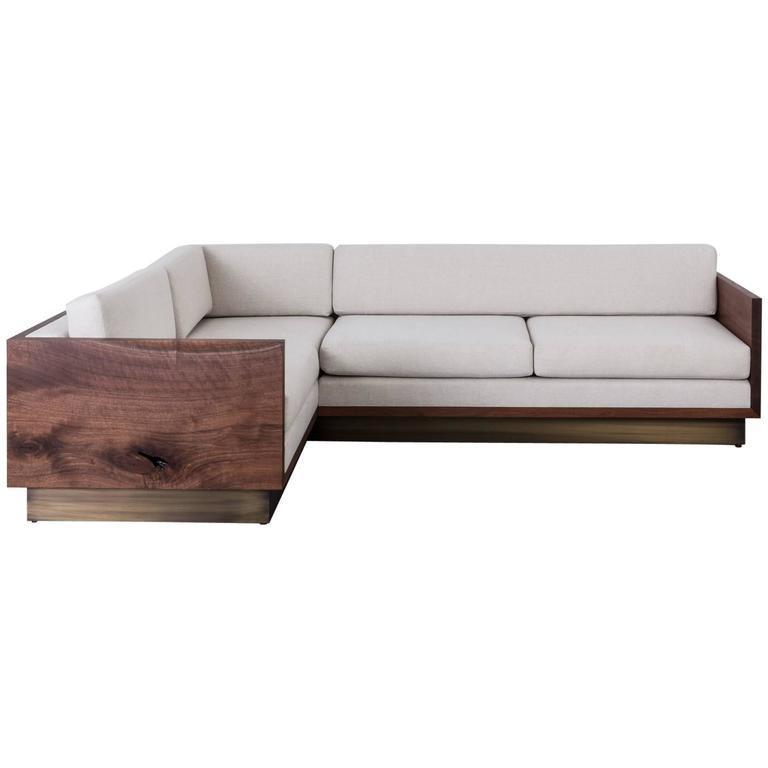 St Pierre Sectional Sofa By Uhuru Claro Walnut Wood Slab Brass Platform Base Sectional Sofa Modern Sofa Sectional Wood Slab