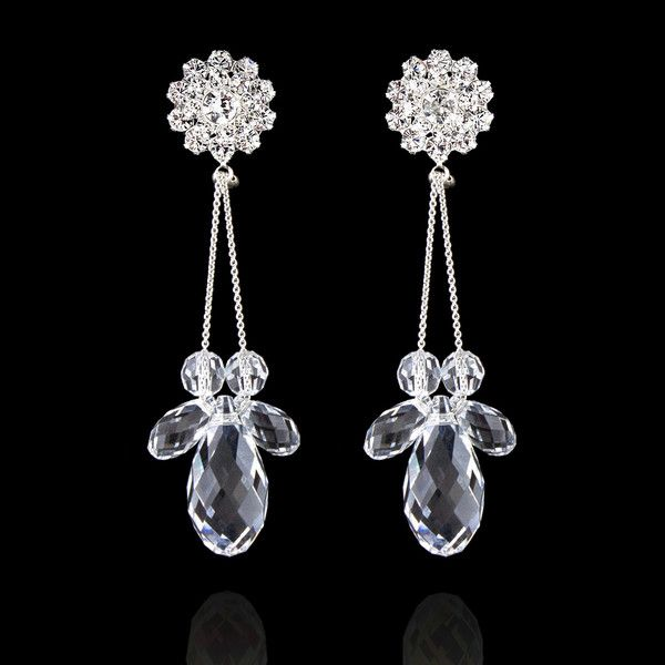 """These chic Swarovski® crystal dropsadd a little sparkle to your evening attire.  2 ¾"""" long.  Made in USA."""