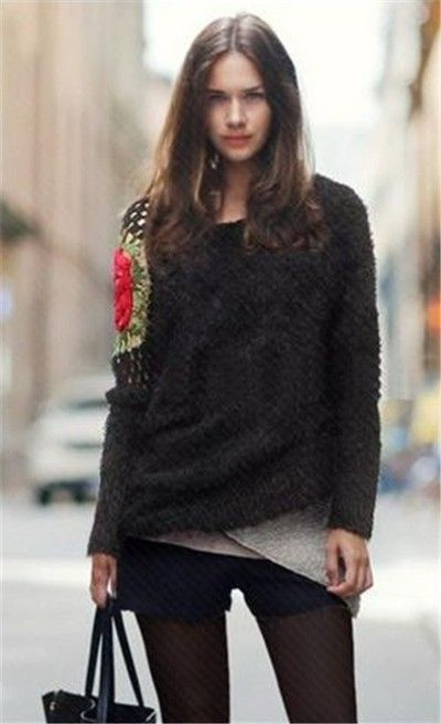Embroidery hollow-out pullover sweater , shoulder flower ...
