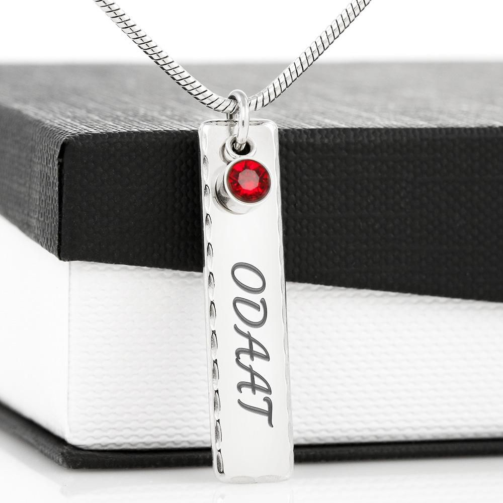 This simple yet elegant pendant is the perfect way to show off a Recovery Birthday. Engrave a sobriety date or a unique message onto the plate and select one of our shimmering birthstones! Personalize It**Up to 16 characters With our custom engraving, make it personal and engrave your loved one's name, a recovery birthday or anniversary, recovery quote, or anything else you want to remember and keep you close to their heart. This beautiful piece makes a truly one-of-a-kind gift for a special 12