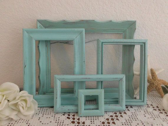 Aqua Turquoise Blue Picture Frame Set Shabby Chic Beach Cottage