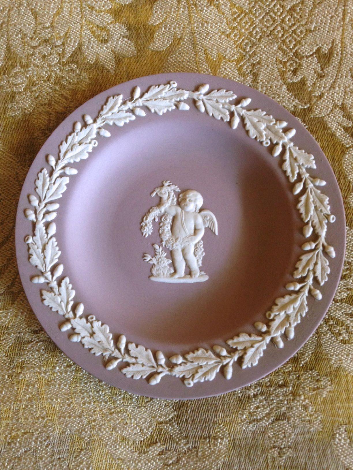 Wedgwood Jasperware Trinket Dish Lavender Cupid Flowers