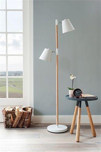 Stehlampe minimalistisches Design weiß Holz Lampe Flurlampe ...