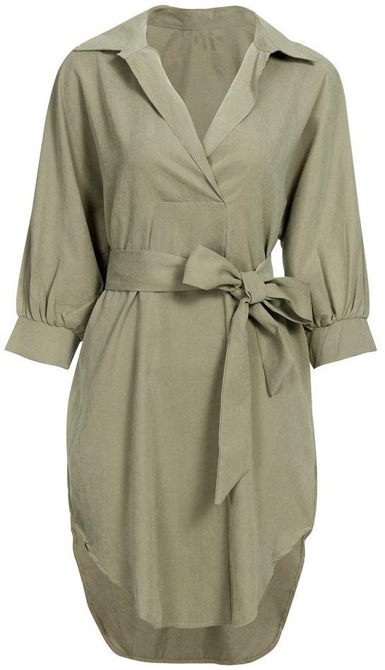 Casual Loose Irregular Lapel Long Sleeve Women Shirt Dress