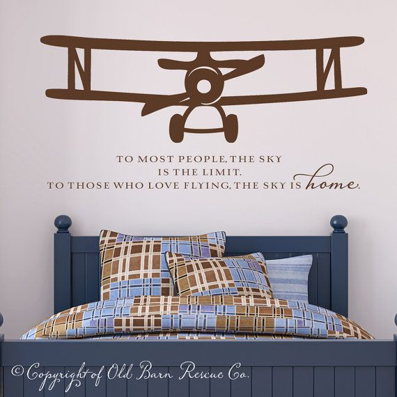 New Large Airplane Vinyl Wall Decal With Flying Quote Via