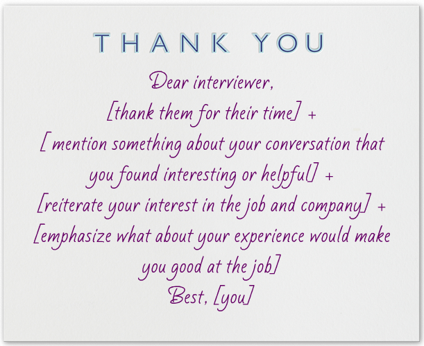 What To Write In A Thank You Note After An Interview  Template