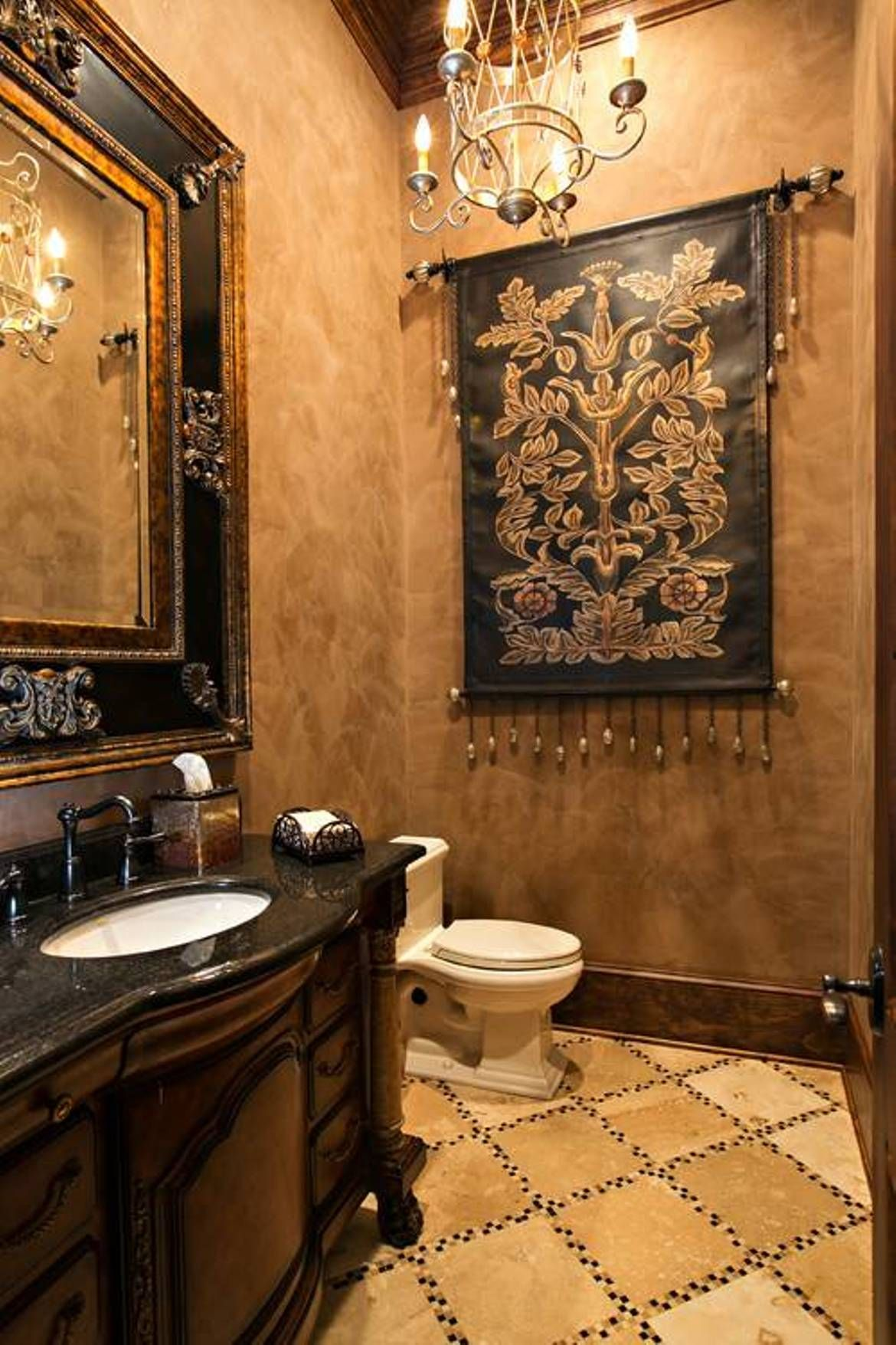 Tuscan Style Bathroom Designs Custom Interiorhalfbathdesignwithfauxfinishwallsaddedhanging Decorating Inspiration