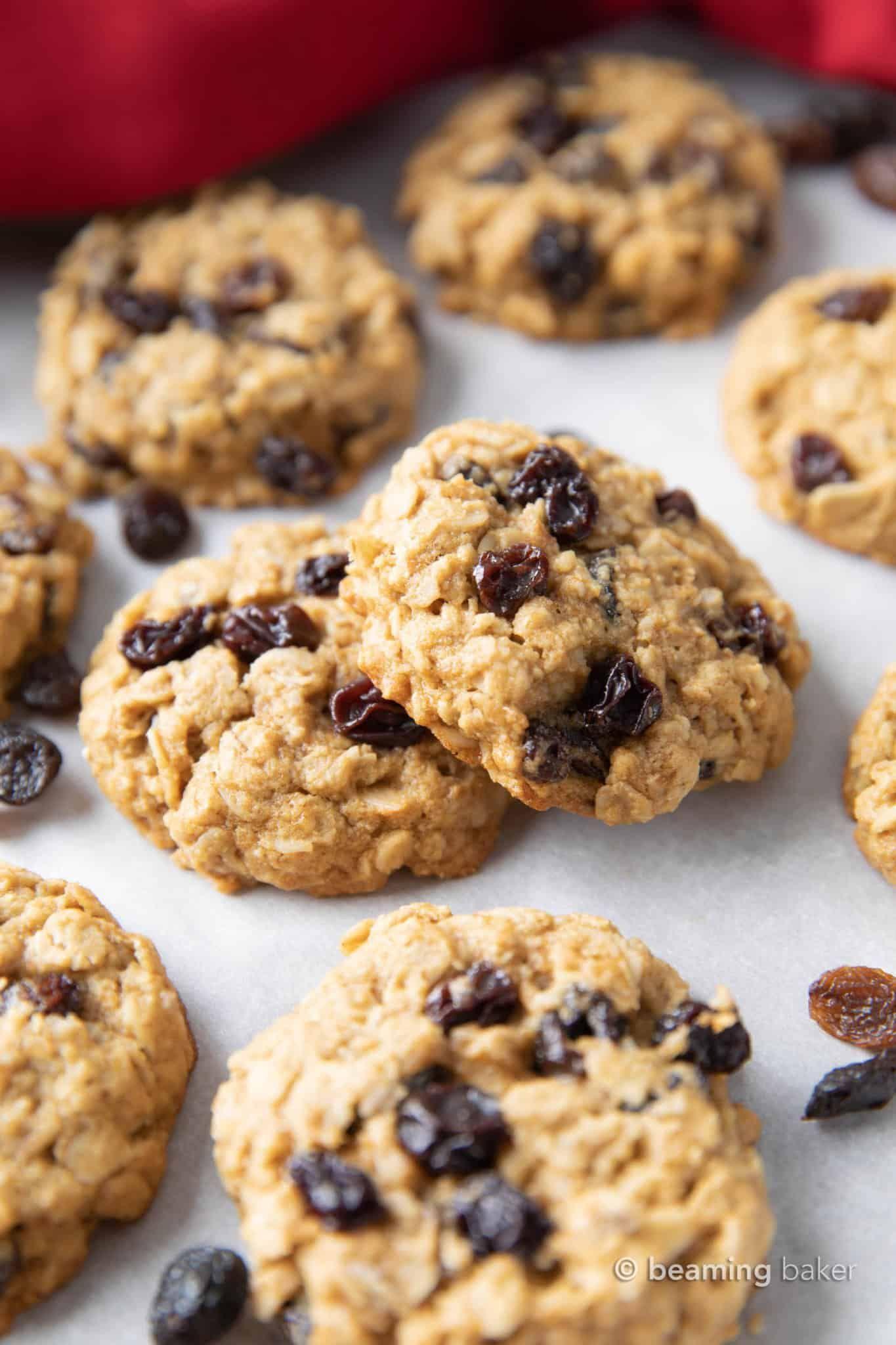 Easy Gluten Free Vegan Oatmeal Raisin Cookies Vegan Refined Sugar Free Beaming Baker In 2020 Oatmeal Raisin Cookies Raisin Cookies Vegan Oatmeal Raisin Cookies