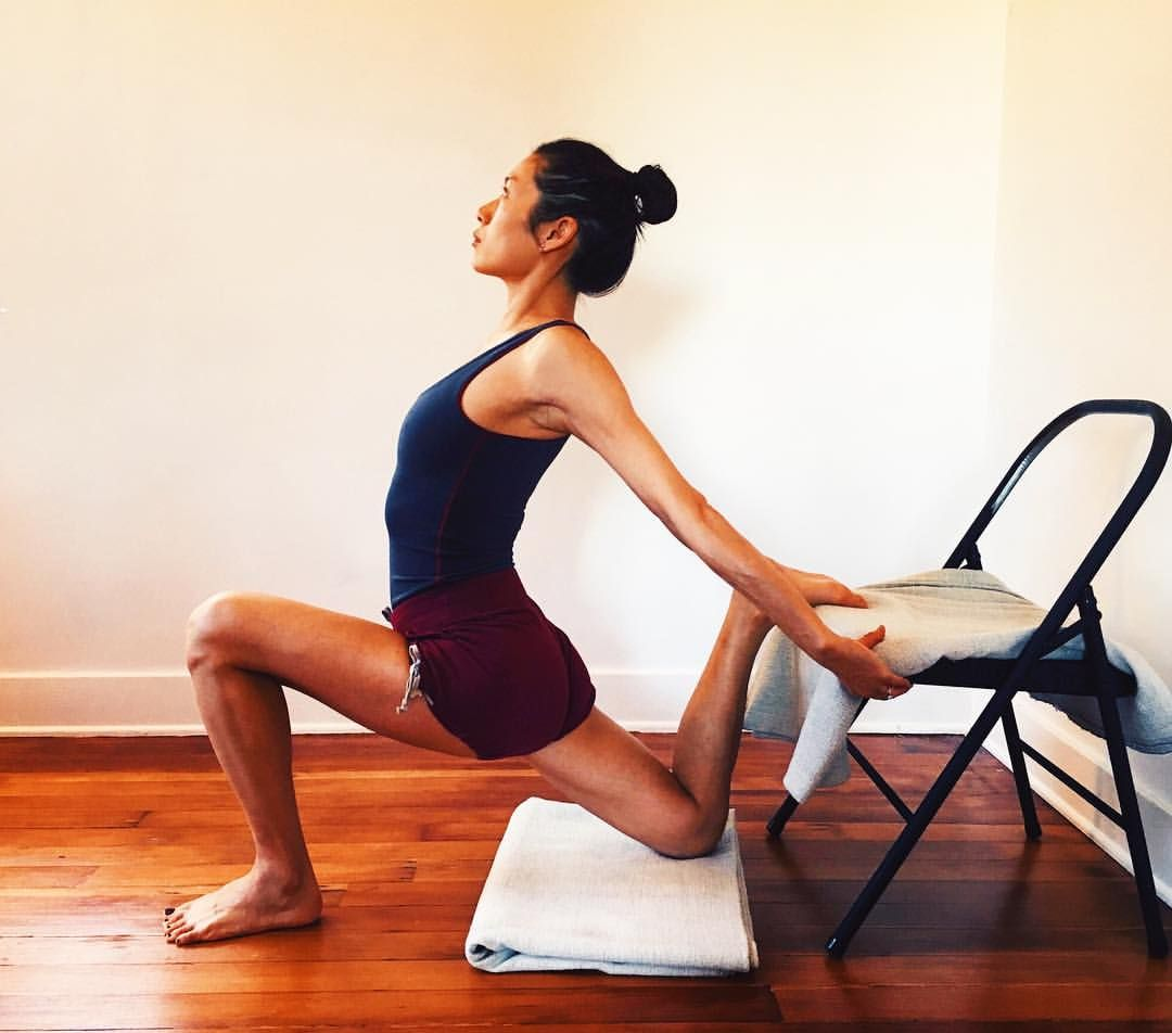 Detail Depth Next Is This Fun Thigh Stretch Against A Chair Seat With One Leg Forward And The Second Leg Back Curl Iyengar Yoga Yoga Backbend Yoga Poses