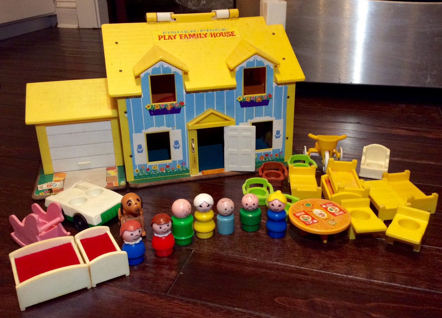 1969 Fisher Price Play Family House With Little People Accessories Vintage Toys