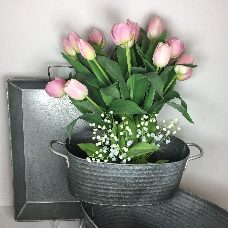 Naturtro Rosa Tulipaner 3 Stk Alle Med Forskellige Hoveder Dekolagersalg Tulipaner Kunstige Blomster Blomster