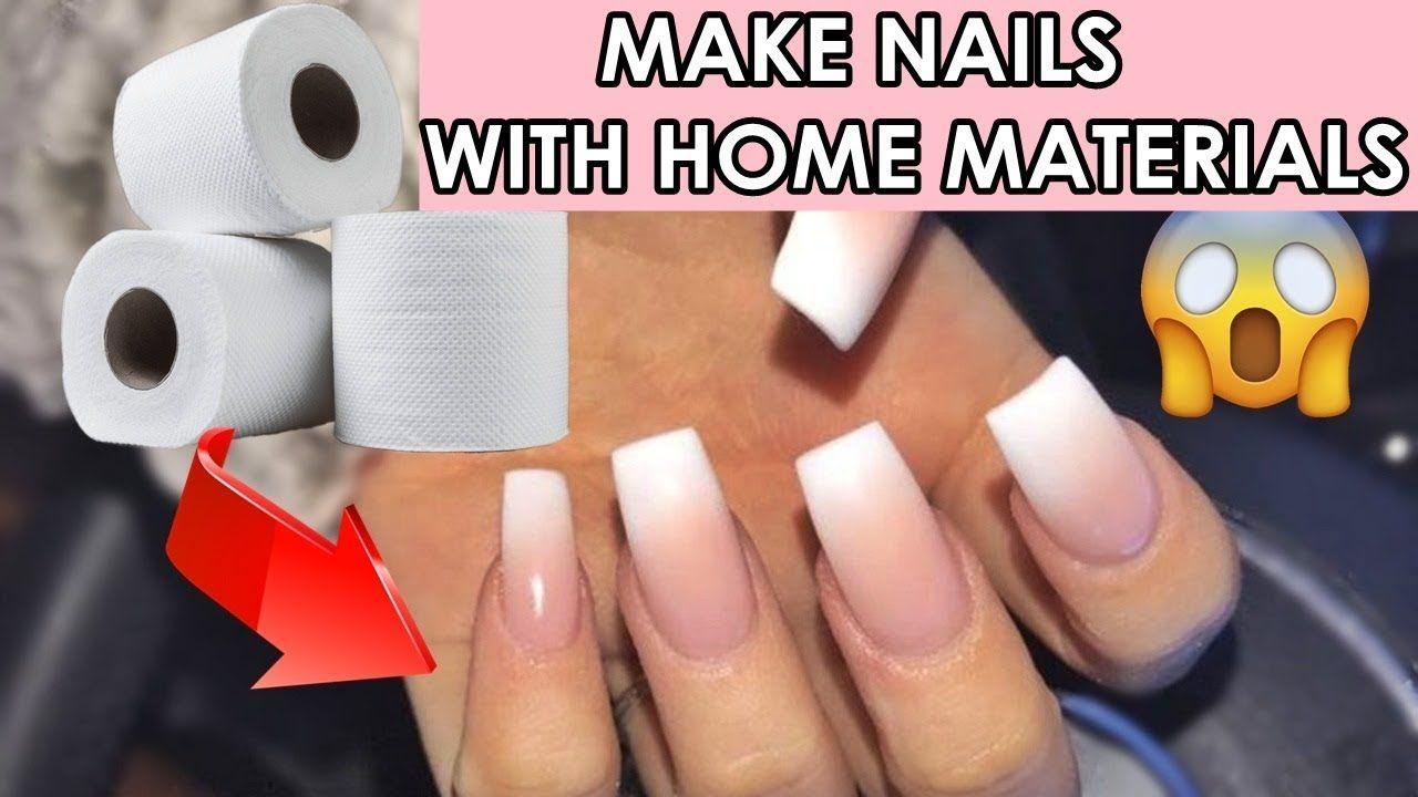 Diy 4 Different Fake Nails With Home Materials 5 Minutes Crafts Nail Hacks Youtube Nail Hacks Diy Diy Acrylic Nails Fake Nails Diy
