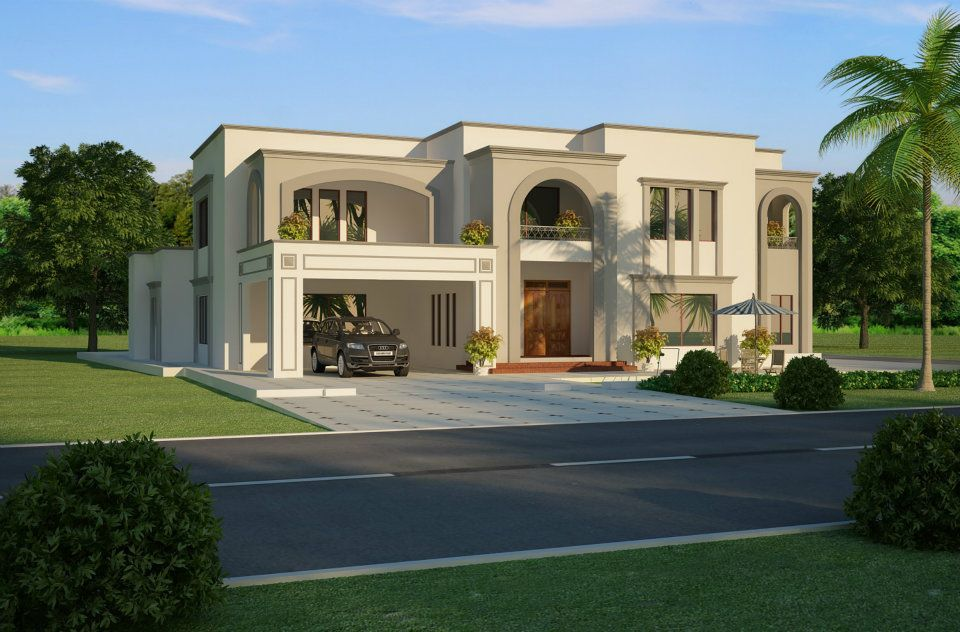 2 Kanal Plot Floor Plan Layout 3d Front Elevation Arabian Villas Pinterest House