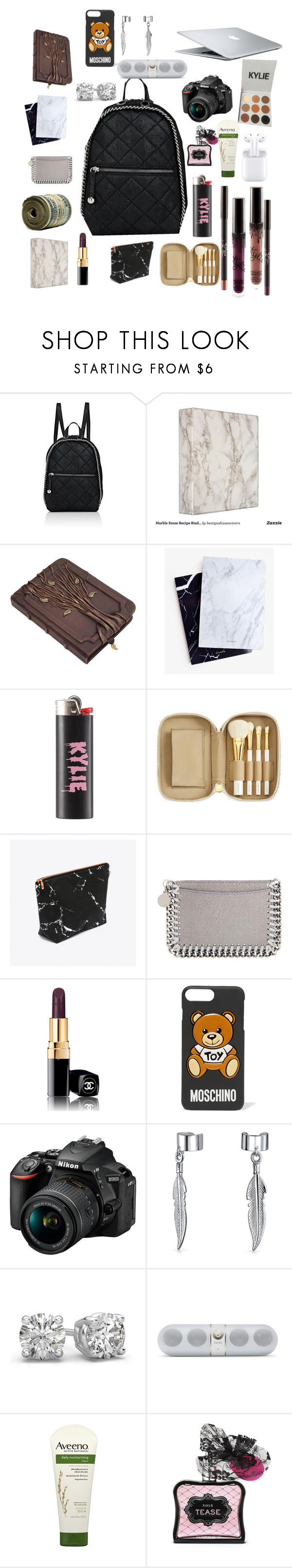 """""""what's in my bag"""" by yeah-dhat-shay on Polyvore featuring STELLA McCARTNEY, Dear Maison, Kylie Cosmetics, Tom Ford, MAC Cosmetics, Chanel, Moschino, Nikon, Bling Jewelry and Aveeno"""