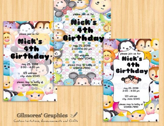 Welcome to gilmores graphics a fun and customized tsum tsum welcome to gilmores graphics a fun and customized tsum tsum birthday party invitation perfect for stopboris Gallery