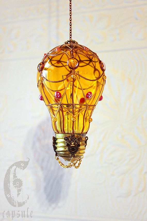 Decorative Ornament Yellow Stained Glass Light Bulb Hot Air Balloon With Yellow And Gold Beads Holiday Christmas Stained Glass Light Recycled Light Bulbs Bulb