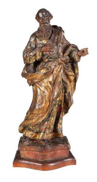SÃO JOAQUIM - Excepcional imagem esculpida em madeira policromada. Peça magistral. Bahia. Século XVI. Alt. 36 cm. Base R$1.200,00. Set15.