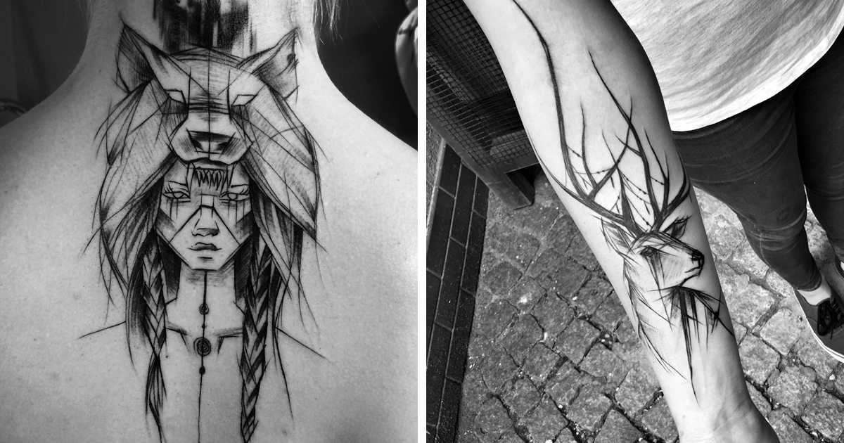 Polish Tattoo Artist Shows The Beauty Of Imperfection With Her Sketch Tattoos (10+ Pics) | Bored Panda