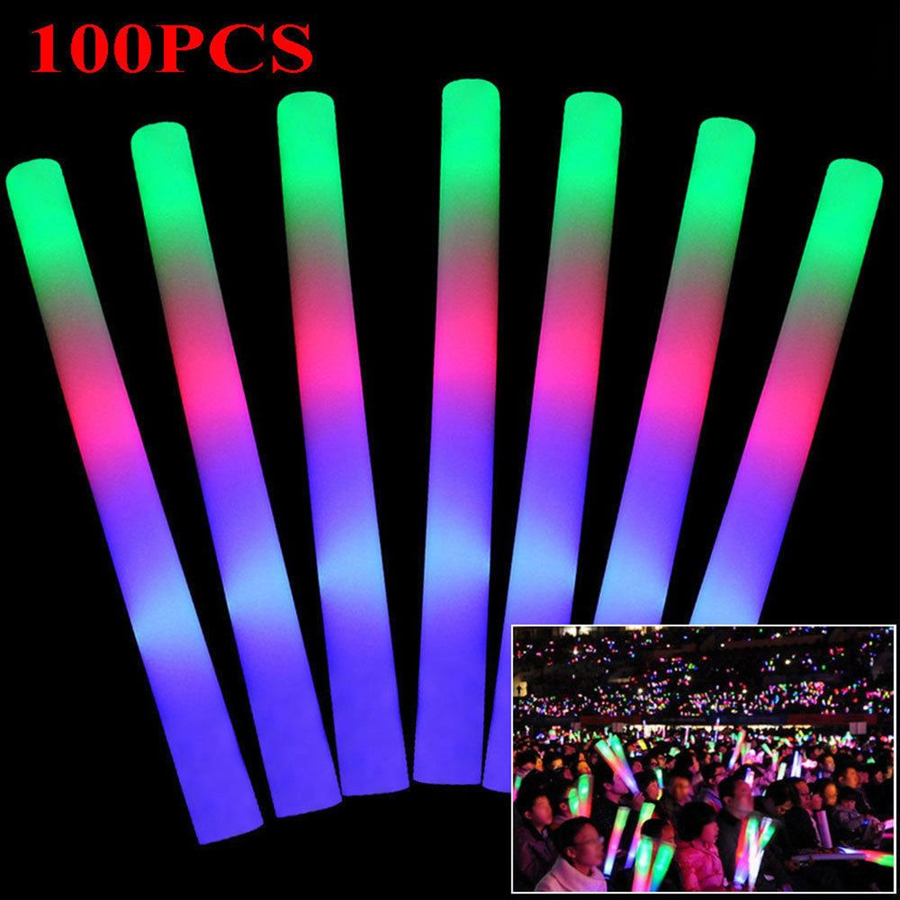 Led Glow Sticks 100 Pcs Light Up Led Foam Sticks Glow Wands Rally Rave Batons