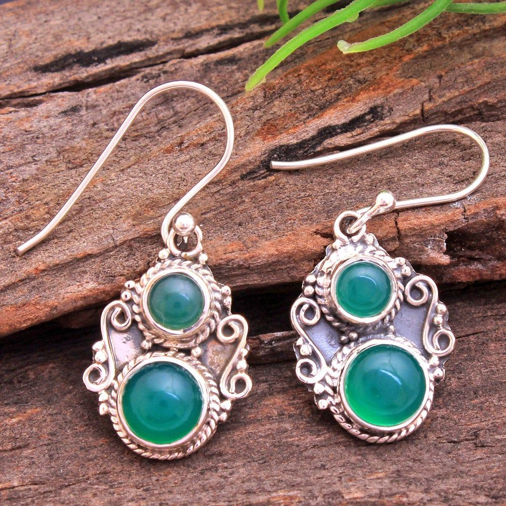 925 Sterling Silver RED Turquoise Natural Stone Drop Dangle Earrings Jewelry UK