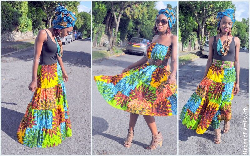 African print maxi skirt/dress in vibrant colours! Rock in a bohemian style or with a classic slant!