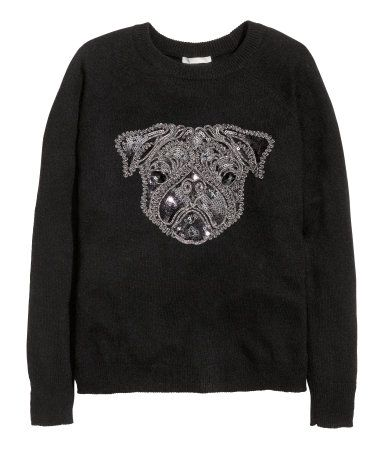 Fine-knit sweater in soft fabric with alpaca wool content. Sequined embroidery at front and long raglan sleeves. Puppy dog print.   Warm in H&M