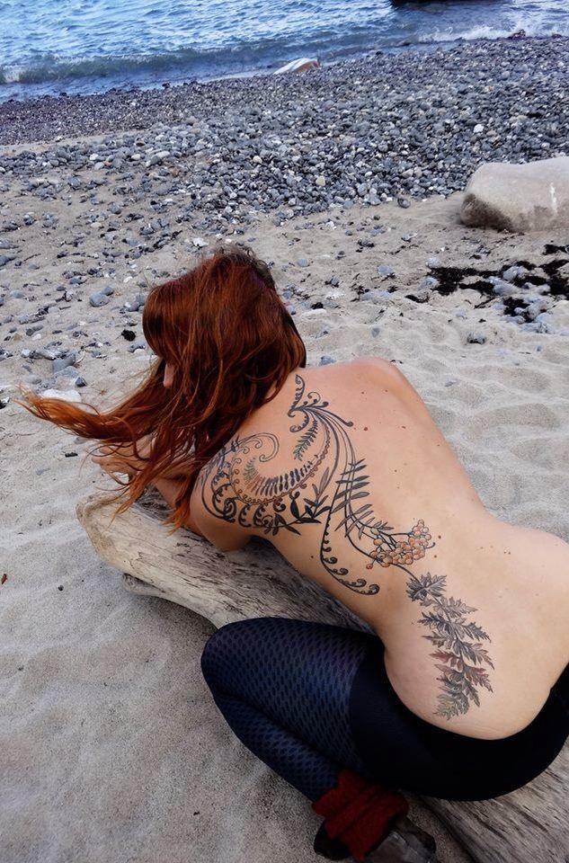 Rowan tree and fern leaf tattoo, by Barbara Swingaling.