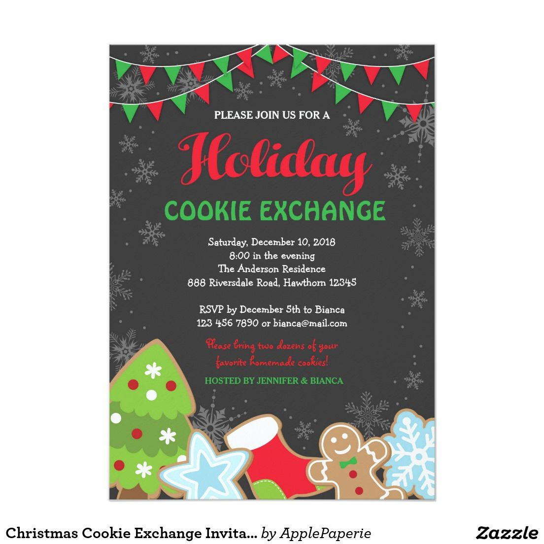 Christmas Cookie Exchange Invitation / Cookie Swap / holiday