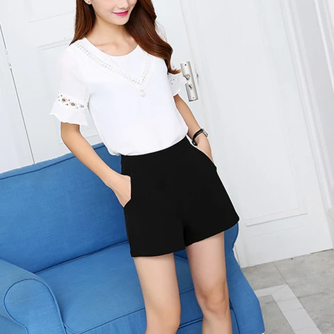 Fashion Black Shorts High Waist Solid Chiffon Shorts