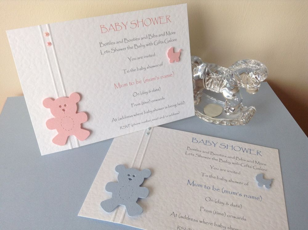 10 Handmade Baby Shower Invitations Pink Blue Boy Girl Twins ...
