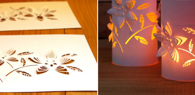 Cut out of paper some floral patterns to get these decorative lanterns!