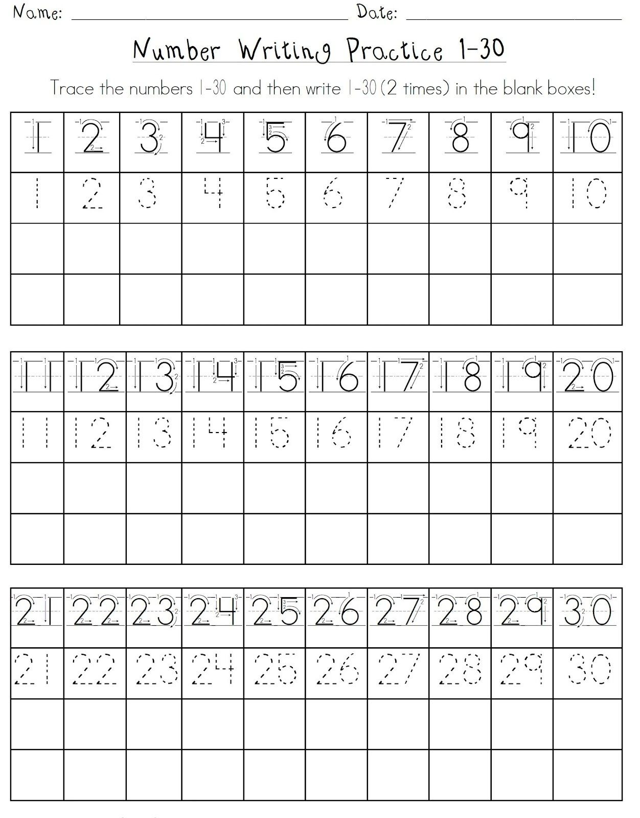Numbers 1 30 Worksheet For School
