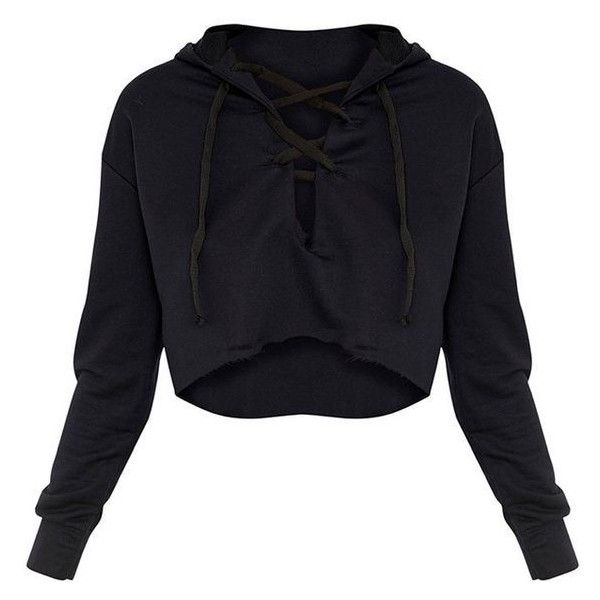 905611ef3f0 Saige Black Lace Up Cropped Hoodie ❤ liked on Polyvore featuring tops,  hoodies, lace up front crop top, sweatshirt hoodies, laced hoodie, cropped  hooded ...