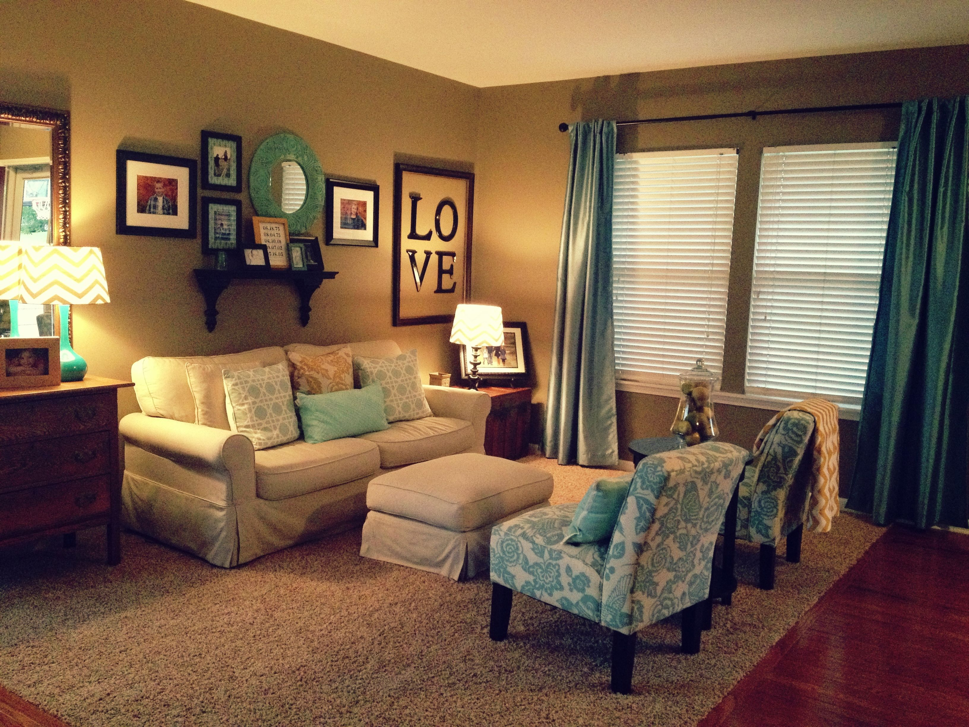 Finally! My Sitting Room Facelift Is Done! Teal, Gold And Greige Neutrals  Create · Beautiful Living ...