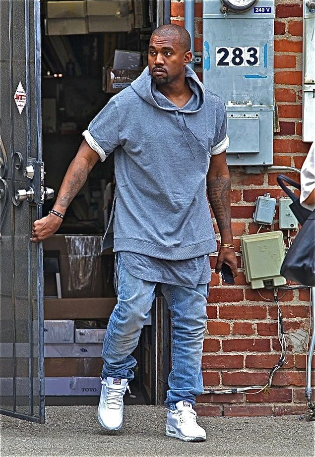 another chance 94dbf 1fb13 Celeb Street Style  Kanye-West-wears-short-sleeve-hoodie (A.P.C x  Kanye)-Fear-of-God-LA-tank-shirt-and-white-Nike-Air-Max-90-Sneakers-in-LA-00