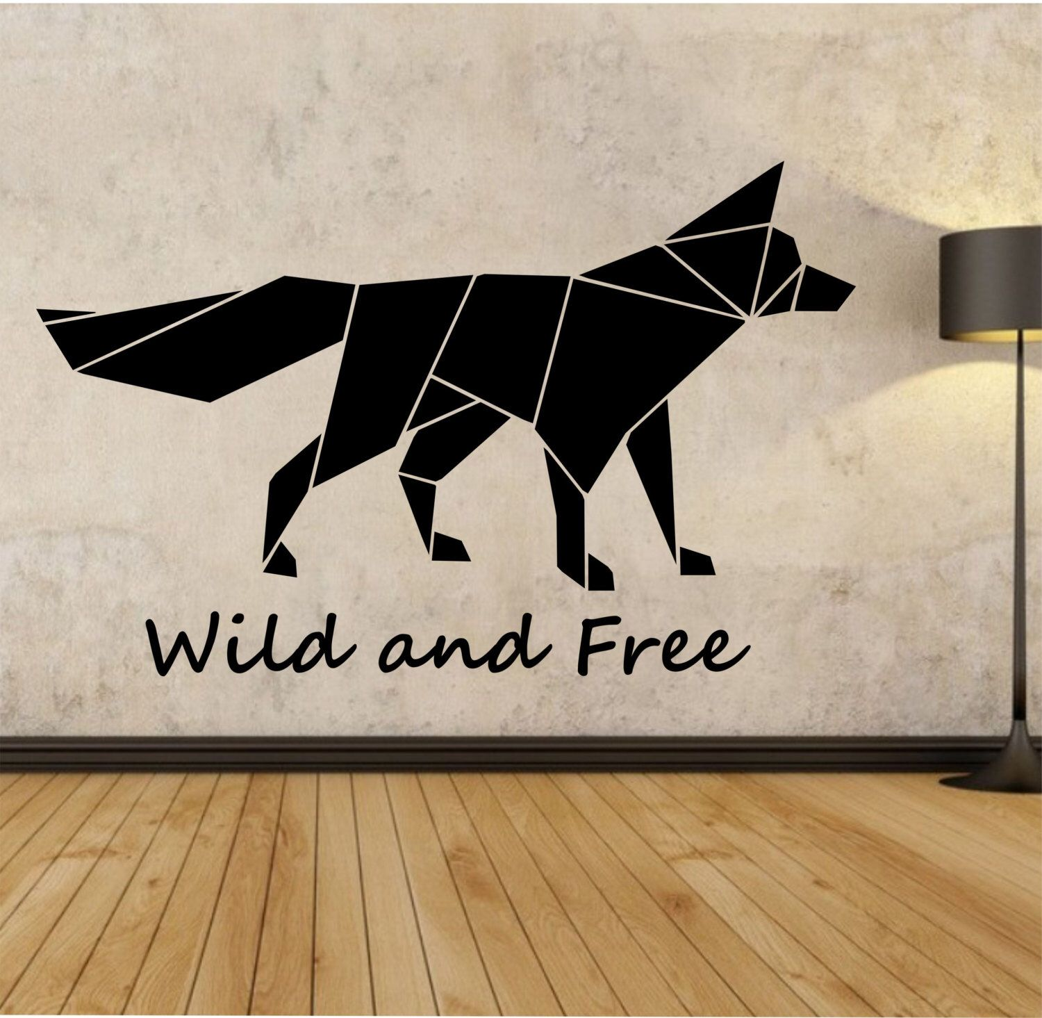 Origami Fox Wall Decal Wild and Free quote Sticker Art Decor Bedroom ...