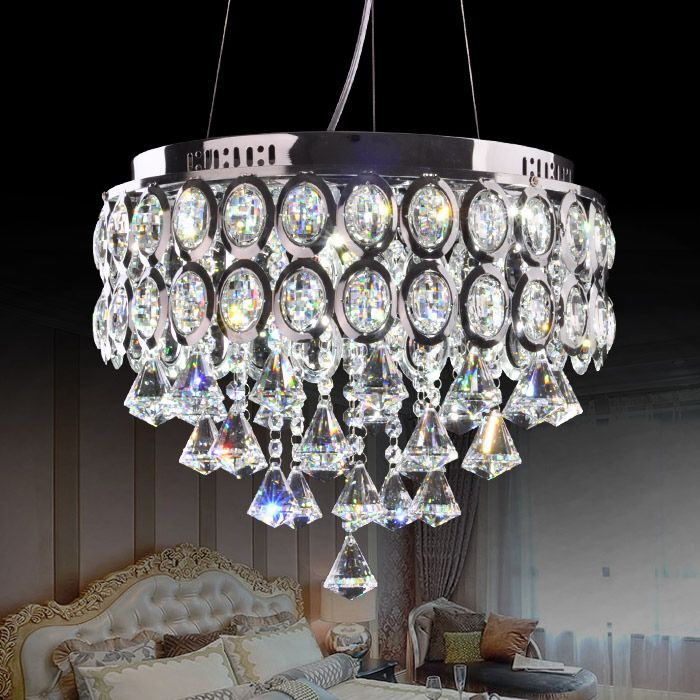 European 16 Crystal Living Room Pendant Light Dining Luxury Stainless Steel Round Top