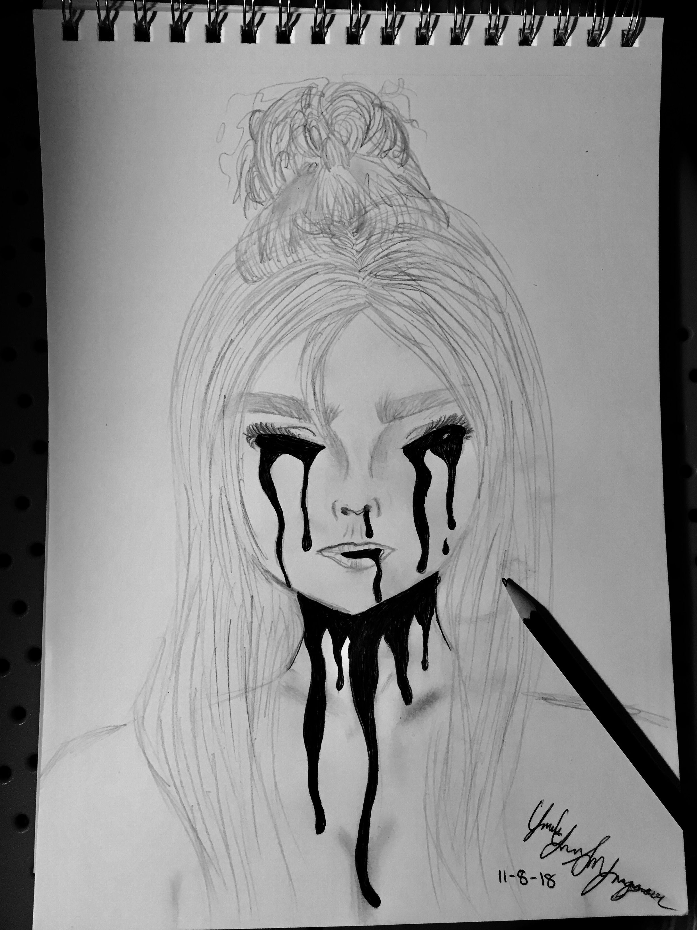 Whenthepartysover black and white drawing billie eilish sad drawings art prompts black and white